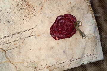 grunge paper  with sealing wax